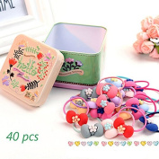 J-Beauty Baby Kids Girl Colourful Bowknot Hair Tie Bands Rope Clip 40 Pcs In One Metal Box