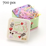 J-Beauty Kids Girl Colourful Hair Rubber Bands Elastic Hair Ties 700 Pcs In One Metal Box