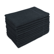 for Altima Plus Bleach Safe Salon Towels, Black, Pack of 12