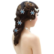 Polytree 6pcs Snowflakes Flower Crystal Rhinestone Hair Coils Twists Spirals Hair Pin Accessories
