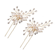 Feyarl Handmade Bridal Gold Hair Pin Stick with Silver Leaves, Inlaid Pearl Sparkle Crystal for Hair Decoration