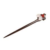 FANTAC CRAFTS Vintage Women Girl Jade Leaf Hairpin Ebony Handcrafted Hair Stick Pins Accessory Wintersweet Flower