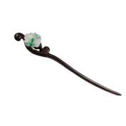 FANTAC CRAFTS Women Girl Jadeite Jade Hair Pin Jewellery Hairpin High-end Hair Stick Retro Gift Black Wood Accessories