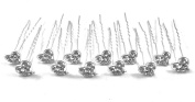 12 Pieces Clear Colour Rhinestone Heart Design Hair Pins With Silver Colour Pin