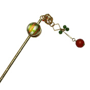 Tamarusan Hair Pin Cicada Green Orange Carnelian Quartz (Dye) Hair Stick