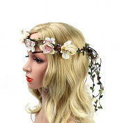 Meiliy Women Flower Garland Headband Flower Wreath Crown Floral Wedding Garland for Wedding Festivals