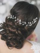 Bridalvenus Wedding Headband, Silver Bridal Hair Wreath Leaves Long Hair Vine Bridal Halo Wedding for Women and Girls