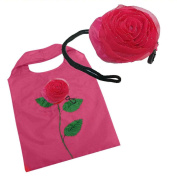 Pink Flower Tote Nylon Reusable Fold Shopping Bag + Rose Hair Clip