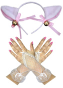 Pink/White Lamb Cat Ears + Lace Fingerless Gloves Easter Gothic Fancy Dress
