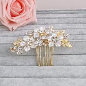 Ammei Wedding Side Comb Headpiece Flower Design with Rhinestone Crystal