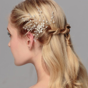 Ammei Rhinestone Crystal Bridal Side Comb with Clear Beads