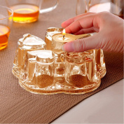 TAMUME Golden Crystal-Clear Glass Teapot Warmer for Teapot (400-1200ml) - Large
