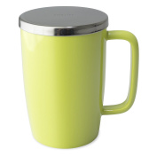 "FORLIFE Dew Glossy Finish Brew-In-Mug with Basket Infuser & ""Mirror"" Stainless Lid, 530ml/Small, Lime"