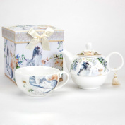 Bits and Pieces - Adorable Single Serving Kitty Tea Set - Cat Tea Set for One - Porcelain Teapot and Cup Combination