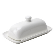 Butter Dish, Ceramic Covered French Butter Dish with handle - White