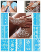 White Temporary Tattoos for Women Teens Girls - 9 Sheets White Lace Fake Tattoos - Tattoo Designs Jewellery Tattoos - 100+ White Flash Fake Waterproof Tattoo Stickers