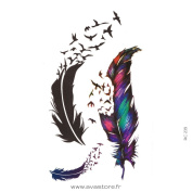 AVASTORE Tattoo Temporaryfeather Tattoo Instant feather