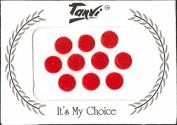 Round Red Velvet Bindi's - Pack of 10pc - 8mm - Stick on Reusable