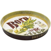 Natives 610700 Born To Be Olive Round Metal Plate 34 x 5 x 2 cm, Multi-Coloured