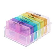 TTnight Medicine Box, Portable 28 Cells Weekly Medicine Health Storage Pill Box with Printed Braille