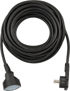 Brennenstuhl Extension Cable – Black + Wide Flat Plug 10 m H05VV-F Cable H07RN-F3G1,5 Vibrator White 1168980010
