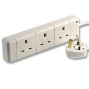 rhinocables Mains Extension Lead Reel 3 Gang Socket WHITE BLACK 13 AMP PLUG 1m, 2m, 3m, 5m, 10m, Long Cable