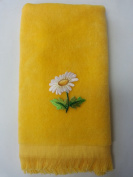 Two leaf daisy fingertip towel vintage applique yellow mom mother