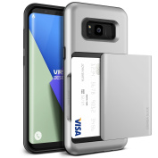 "Galaxy S8 Plus Case, [Satin Silver] ""Made in Korea"" Shockproof Sliding Wallet Cover with 2 Card Slot [Damda Glide] Military Grade Protection Premium TPU Layered Phone Case by VRS Design® for Samsung Galaxy S8 Plus"