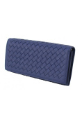 Womens Genuine Sheepskin Leather Braided Clutches Long Wallets