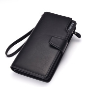 Vicloon Men Paragraph Genuine Leather Wallet Clutch Long Zipper Multi-card Wallet with Wristlets Black