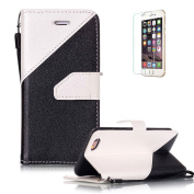 iPhone 6 Plus/6S Plus 14cm Case [with Free Screen Protector},Funyye Stylish Lanyard Strap Scratch Resistant Premium Magnetic Detachable Superior PU Leather Wallet different colour splicing Style Cover Case for iPhone 6 Plus/6S Plus 14cm -White