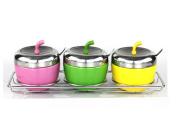 Spice Jar Stainless Steel Condiment Bottles Strap Box Kitchen Seasoning Box Sugar Cans Small Supplies