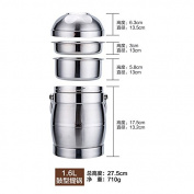 Reusable Food Container/ Food Storage Boxes, 3 Layer Of The Stainless Steel Vacuum Flask Bucket Bento Boxes , Large-Capacity Multi-Layer Bento Box Containers,A-1.6L