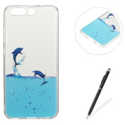 Huawei P10 case,Feeltech MAGQI [Crystal Clear] Flexible Ultra Thin Gel TPU Bumper Silicone Cover with Colourful Cute Cartoon Design Pattern [Scratch-Resistant Shock-absorber] Transparent Durable Skin Rubber Smartphone Shell with Free Touch Stylus Pen P ..