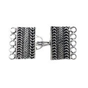 5 Hole Silver Overlay Multi Strand Clasp CSF-470-24X15MM