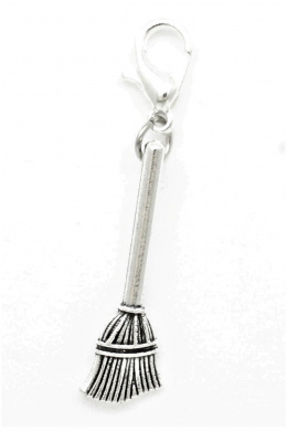 AV BEADS Clip-on Charms Broom Charm, Antique Silver Metal Alloy