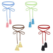 Tpocean Red Blue Green Brown 4 Colours Long Lace-up Kink Tassel Choker Necklaces Set for Women Girls 4 Pack