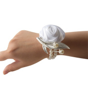 KUPARK 4pcs of Corsages Bridesmaid Wedding Wrist Corsage Party Prom Hand Flower with Faux Pearl Bead Wristband