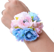 USIX 4pc Pack-Handmade Artificial Hydrangea Flower Wrist Corsage With Elastic Wristband for Girl Bridesmaid Wedding Wrist Corsage Party Prom Flower Corsage Hand Flower