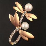 Jewellery with Artificial Pearl & Rhinestone Dragonflies Brooch Label Pin for Unisex Dress Accessories