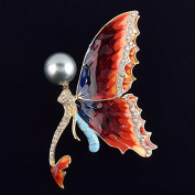 Jewellery with Butterfly Artificial Pearl & Rhinestone Brooch Label Pin for Women Dress Accessories