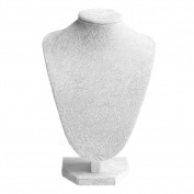 Hunulu Silver Grey Mannequin Velvet Necklace Pendant Chain Jewellery Bust Neck Display Stand Holder