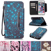 iPhone 6 Plus / 6S Plus Case, [Card Slots] [Kickstand] Flip Folio Wallet Case Synthetic Leather Shell Scratch Resistant Protective Cover for Apple iPhone 6 Plus / 6S Plus 14cm - Starry
