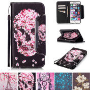 iPhone 6/6S Case, Kickstand Flip [Card Slots] Wallet Cover Double Layer Bumper Shell with Magnetic Closure Strap Protective Case for Apple iPhone 6/6S 12cm - Skull