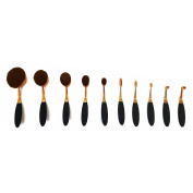 FDVIP High Quality Pro Super Soft Oval Make up Brushes 10 pcs Set Flawless Contour Foundation Buffer Technique