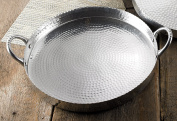 43cm Round Hammered Scalloped Tray with Handles by KINDWER