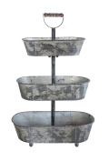 Creative Co-Op Three-Tier Serving Tray with Handle, Grey
