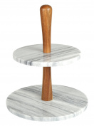Creative Home 32981 Natural Marble Stone and Acacia Wood 2-Tier Cake Stand, Dessert Server, Grey