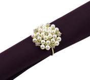 Fennco Styles Elegant Pearl Collection Wedding Special Event Table Napkin Rings - Set of 4