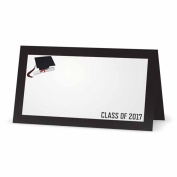 Graduation Place Cards - TENT STYLE - 10 PACK - White Blank Front with Solid Colour Border and Back - Placement Table Name Seating Stationery Party Supplies - Occasion or Dinner Event